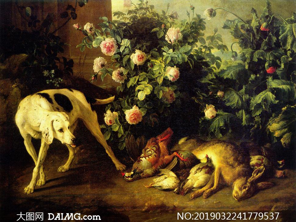 狗狗与花草丛边的动物油画高清图片