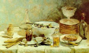桌上的盘子瓶子等餐具油画 澳门线上必赢赌场
