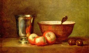 杯子碗与水果主题静物油画 澳门线上必赢赌场