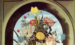 摆放在拱形窗上的花瓶油画高清图片