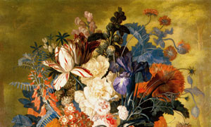 水果与花瓶里的花油画创意高清图片