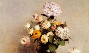 靠墙桌上的水果与花瓶绘画 澳门线上必赢赌场