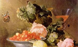桌上的水果与蝴蝶鲜花绘画高清图片