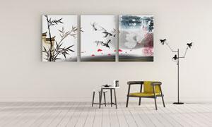 水墨鱼与竹子等三联无框画高清图片