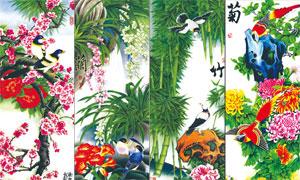 梅兰竹菊花鸟等无框画设计高清图片