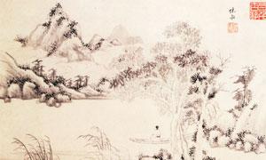 明代文嘉的山水花卉图其二高清图片