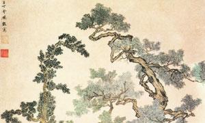 明丁云鵬創作的樹下人物圖高清圖片