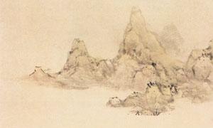 明代藍瑛的江皋話古圖繪畫高清圖片