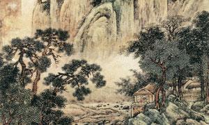 明代畫家邵彌的溪亭訪友圖高清圖片