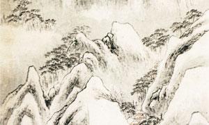 明代画家江必名的白雪高风图水墨画