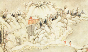 郭存仁的金陵八景图之石城瑞雪作品