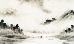 明代孙克弘的雨景山水图水墨画图片