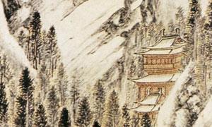明代钱毂的雪山策骞图画作高清图片