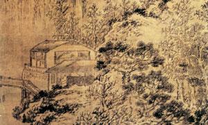 明代王问的雪景山水图国画高清图片