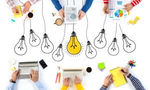 灯泡图案与工作场景等创意高清图片
