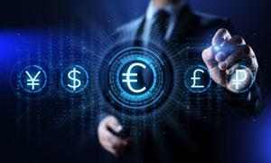 蓝色光效装饰货币符号创意高清图片