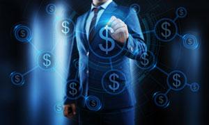 蓝色光效美元符号创意设计高清图片