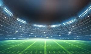 在燈光照射下的體育場攝影高清圖片