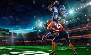 在激烈交锋的橄榄球运动员高清图片