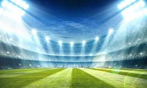 明亮如晝的足球場逆光攝影高清圖片