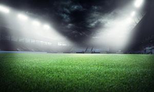 铺满草皮的体育场灯光照明高清图片