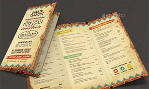 懷舊風格餐廳菜單版式設計模板素材