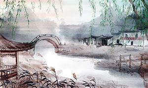 中国风水墨主题背景设计PSD素材