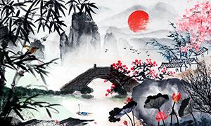 中国风传统水墨主题广告背景PSD素材