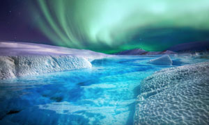 寒冷地区旖旎极光景观摄影高清图片