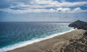 蓝天大海沙滩自然风光摄影高清图片