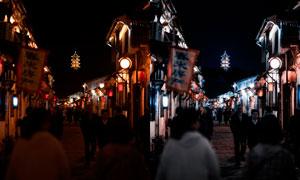 老街夜景照片冷色效果PS教程素材