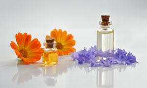 花朵與護膚用精油特寫攝影高清圖片