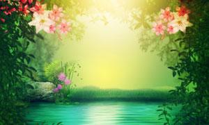 水边花草自然风光唯美视觉五百万彩票图片