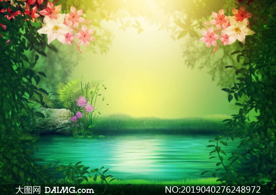 水邊花草自然風光唯美視覺高清圖片