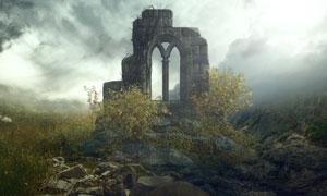 坐落在山间的古代遗址摄影高清图片