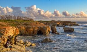 蓝天白云海岸自然风光摄影高清图片