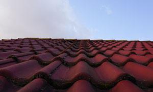 蓝天与屋顶之上的瓦片摄影高清图片