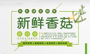 新鲜香菇食材宣传海报PSD素材