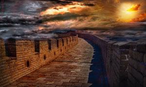 黄昏霞光中的长城风景摄影高清图片