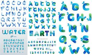 水滴樣式英文字母創意設計矢量素材