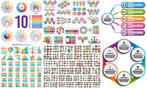 多款炫彩风格的信息图元素矢量素材