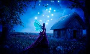 夢幻的精靈和森林場景PS教程素材