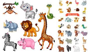 兔子老虎与狮子等卡通动物矢量素材