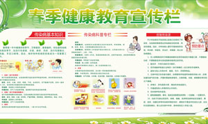 春季健康教育宣传栏设计模板矢量素材