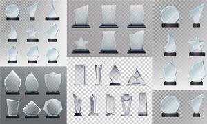 透明玻璃材质奖杯创意矢量素材集V6