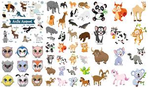 可爱熊猫与老虎等动物创意矢量素材