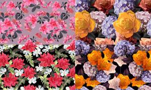 无缝拼接花朵图案背景设计矢量素材