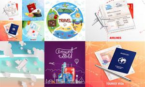 飞机与护照等元素旅行主题矢量素材
