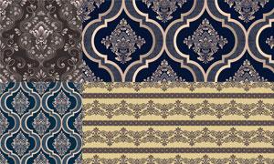 复古怀旧花纹装饰无缝图案矢量素材