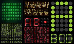 液晶点阵风格英文字母设计矢量素材